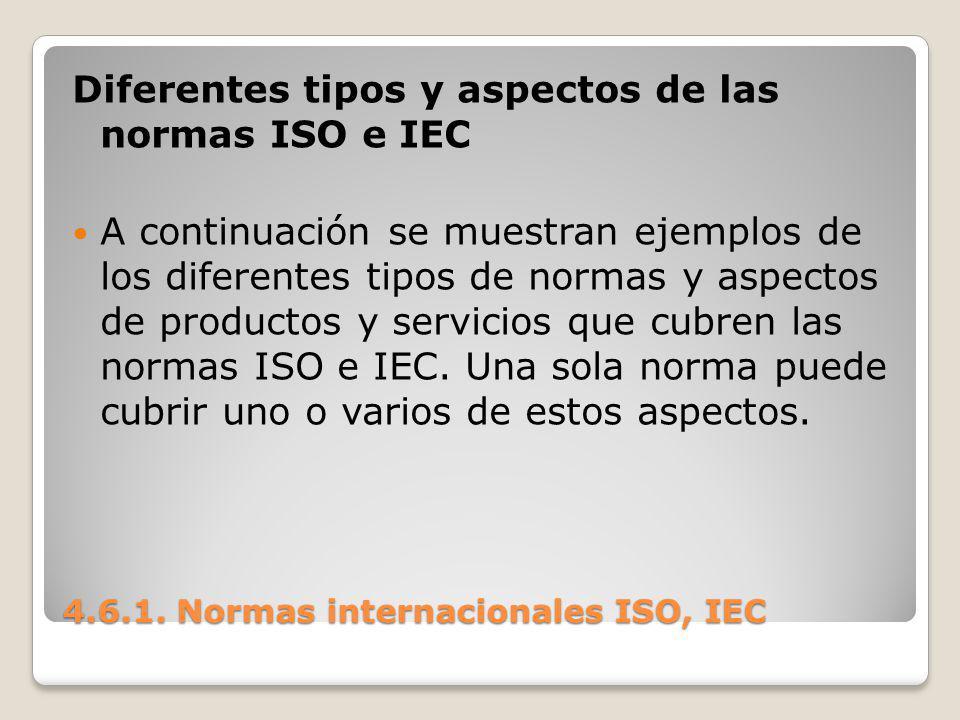 4.6.1. Normas internacionales ISO, IEC Diferentes tipos y aspectos de las normas ISO e IEC A continuación se muestran ejemplos de los diferentes tipos