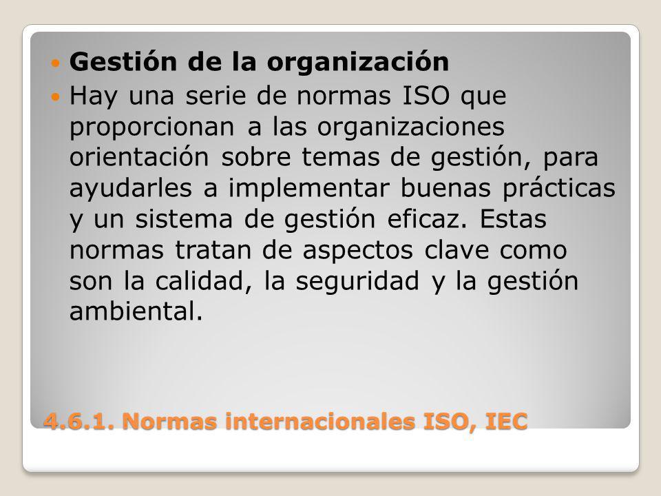 4.6.1. Normas internacionales ISO, IEC Gestión de la organización Hay una serie de normas ISO que proporcionan a las organizaciones orientación sobre
