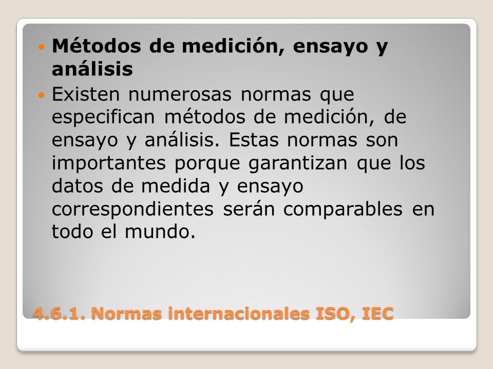 4.6.1. Normas internacionales ISO, IEC Métodos de medición, ensayo y análisis Existen numerosas normas que especifican métodos de medición, de ensayo