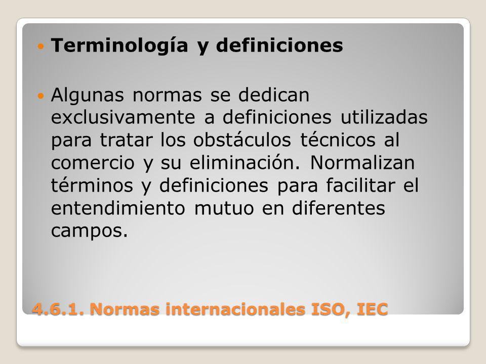 4.6.1. Normas internacionales ISO, IEC Terminología y definiciones Algunas normas se dedican exclusivamente a definiciones utilizadas para tratar los