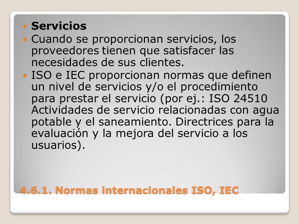 4.6.1. Normas internacionales ISO, IEC Servicios Cuando se proporcionan servicios, los proveedores tienen que satisfacer las necesidades de sus client