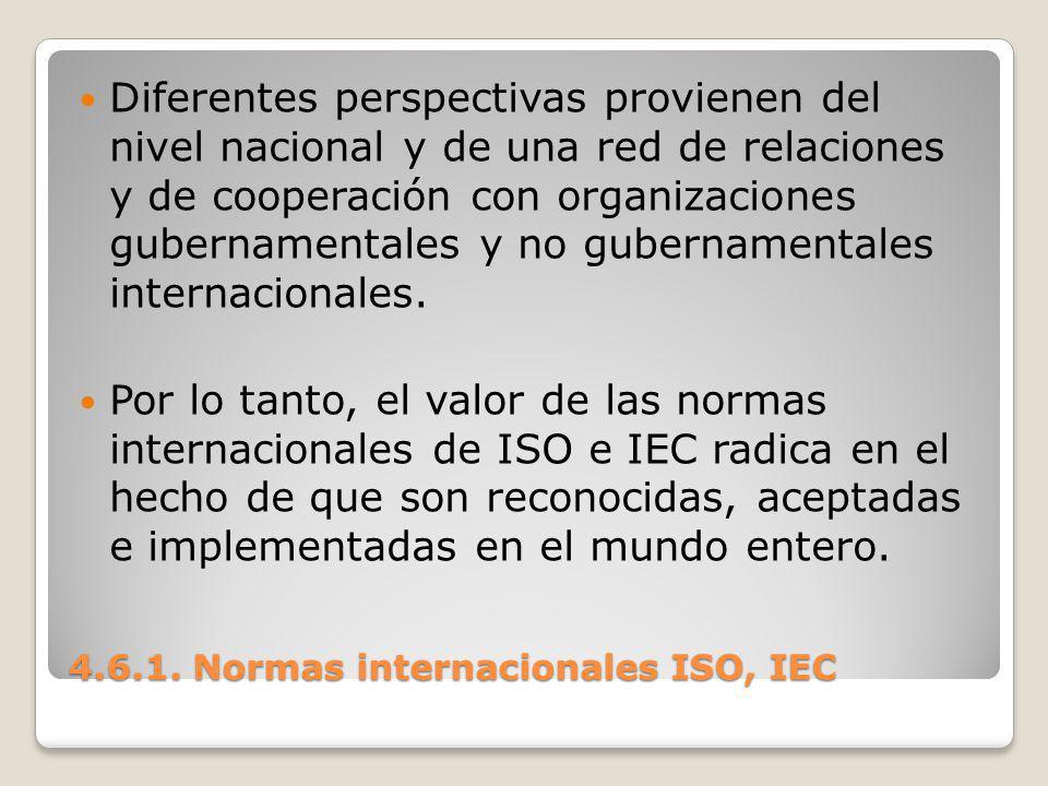 4.6.1. Normas internacionales ISO, IEC Diferentes perspectivas provienen del nivel nacional y de una red de relaciones y de cooperación con organizaci