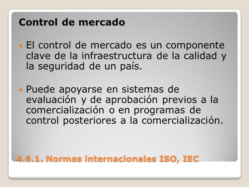 4.6.1. Normas internacionales ISO, IEC Control de mercado El control de mercado es un componente clave de la infraestructura de la calidad y la seguri