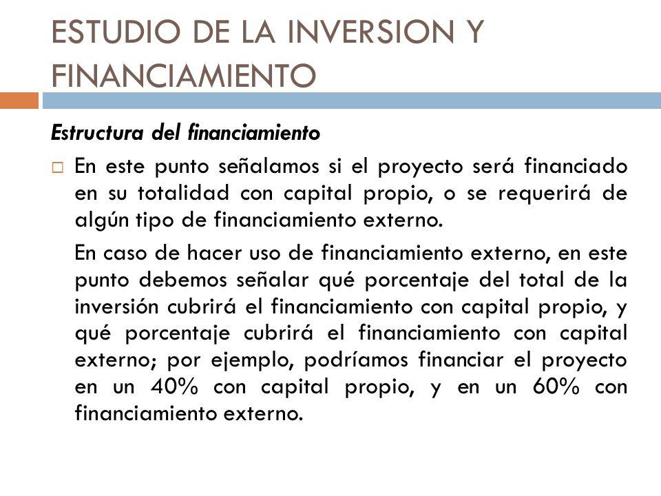 ESTUDIO DE LA INVERSION Y FINANCIAMIENTO Estructura del financiamiento En este punto señalamos si el proyecto será financiado en su totalidad con capi