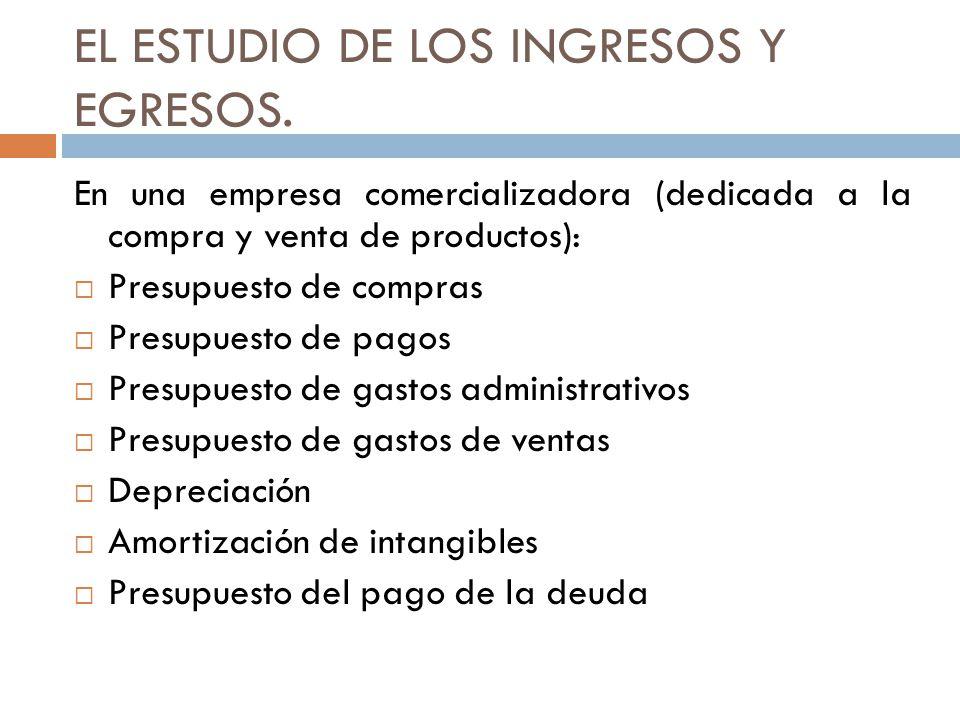 EL ESTUDIO DE LOS INGRESOS Y EGRESOS. En una empresa comercializadora (dedicada a la compra y venta de productos): Presupuesto de compras Presupuesto