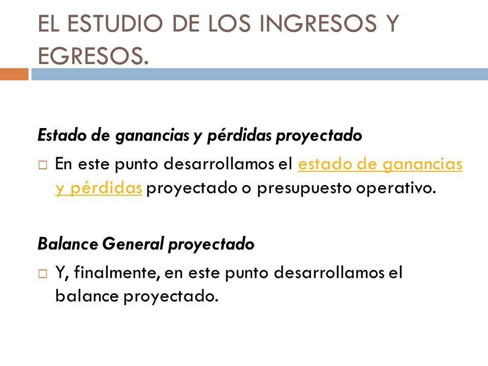 EL ESTUDIO DE LOS INGRESOS Y EGRESOS. Estado de ganancias y pérdidas proyectado En este punto desarrollamos el estado de ganancias y pérdidas proyecta