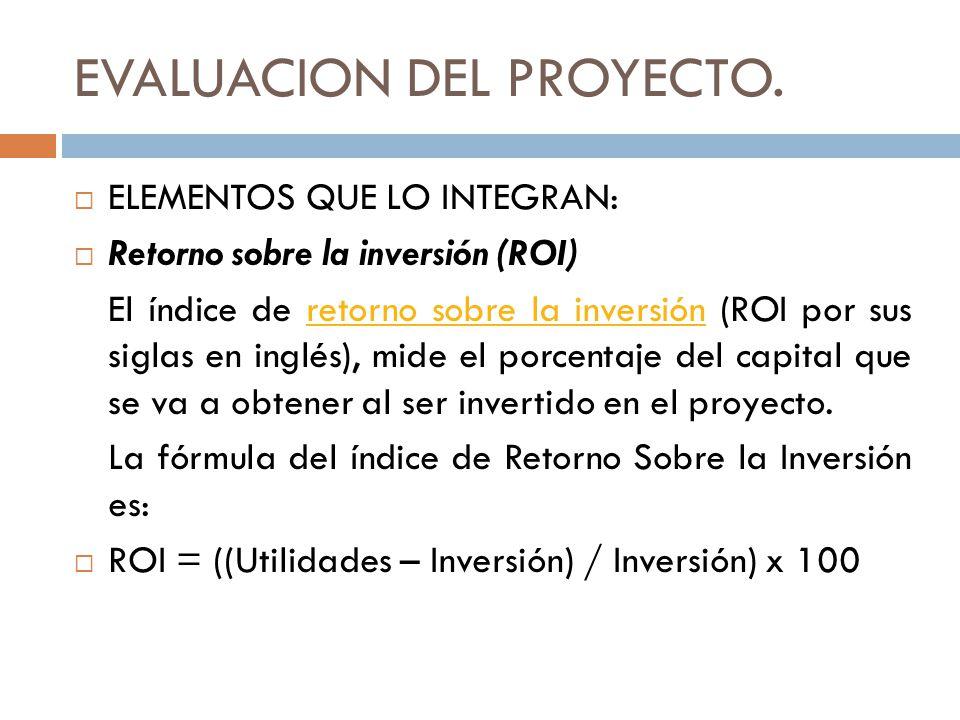 EVALUACION DEL PROYECTO. ELEMENTOS QUE LO INTEGRAN: Retorno sobre la inversión (ROI) El índice de retorno sobre la inversión (ROI por sus siglas en in