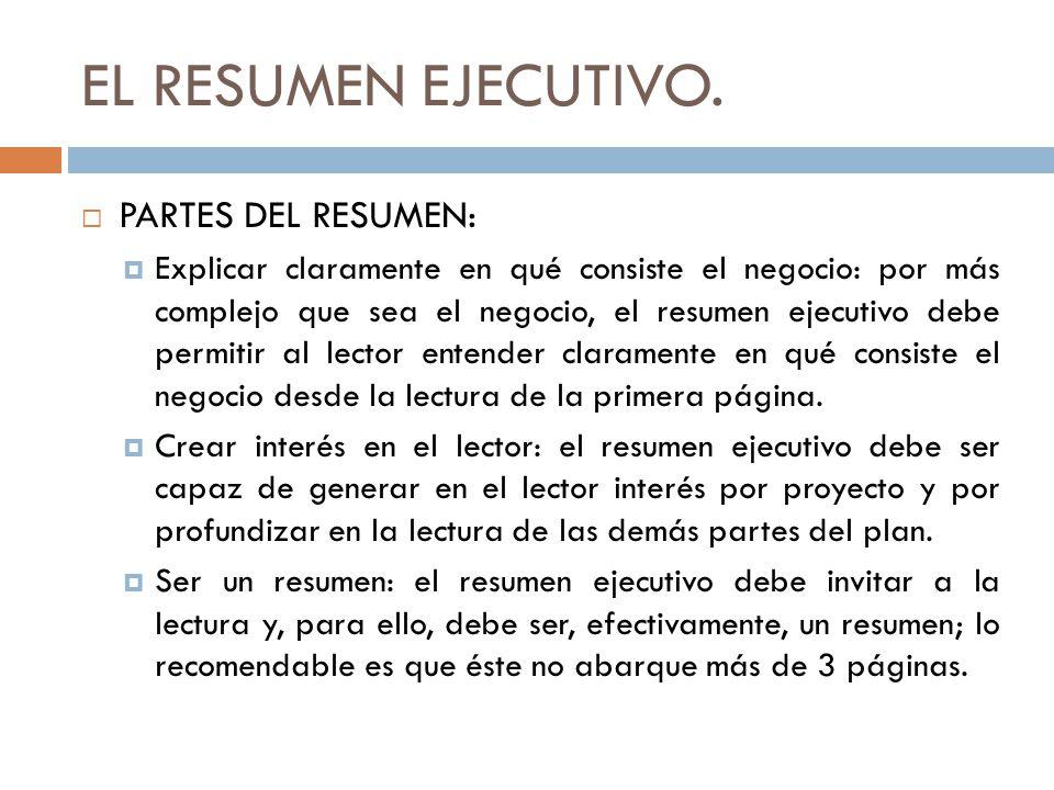 EL RESUMEN EJECUTIVO.