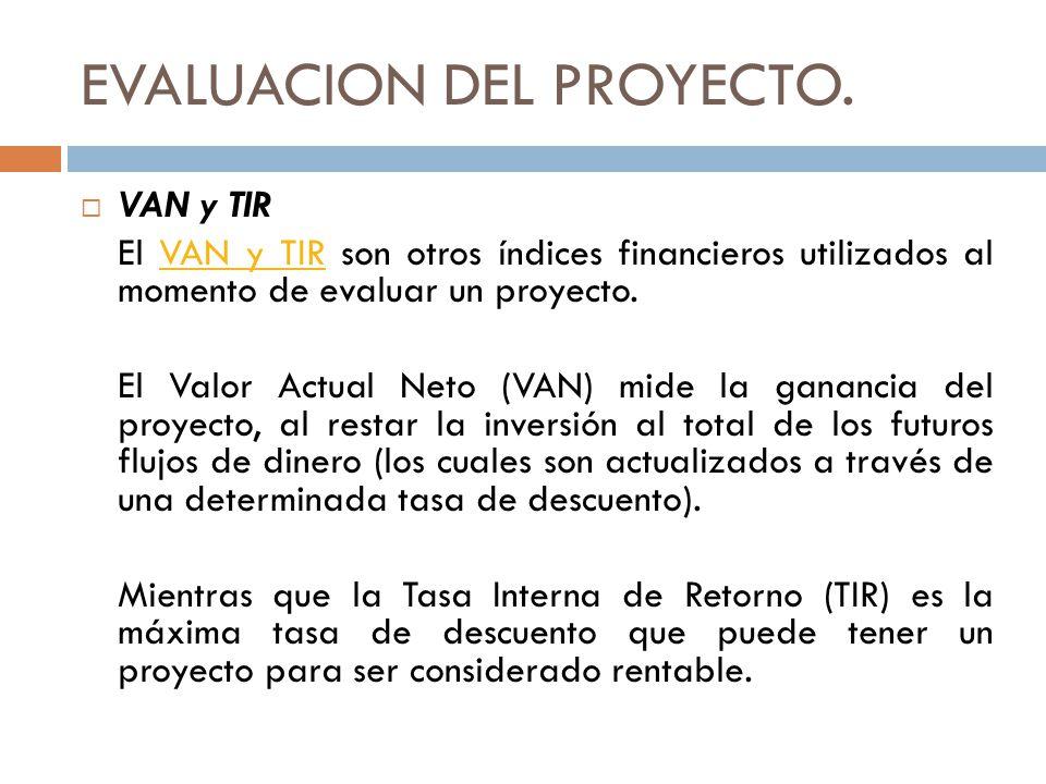 EVALUACION DEL PROYECTO. VAN y TIR El VAN y TIR son otros índices financieros utilizados al momento de evaluar un proyecto. VAN y TIR El Valor Actual