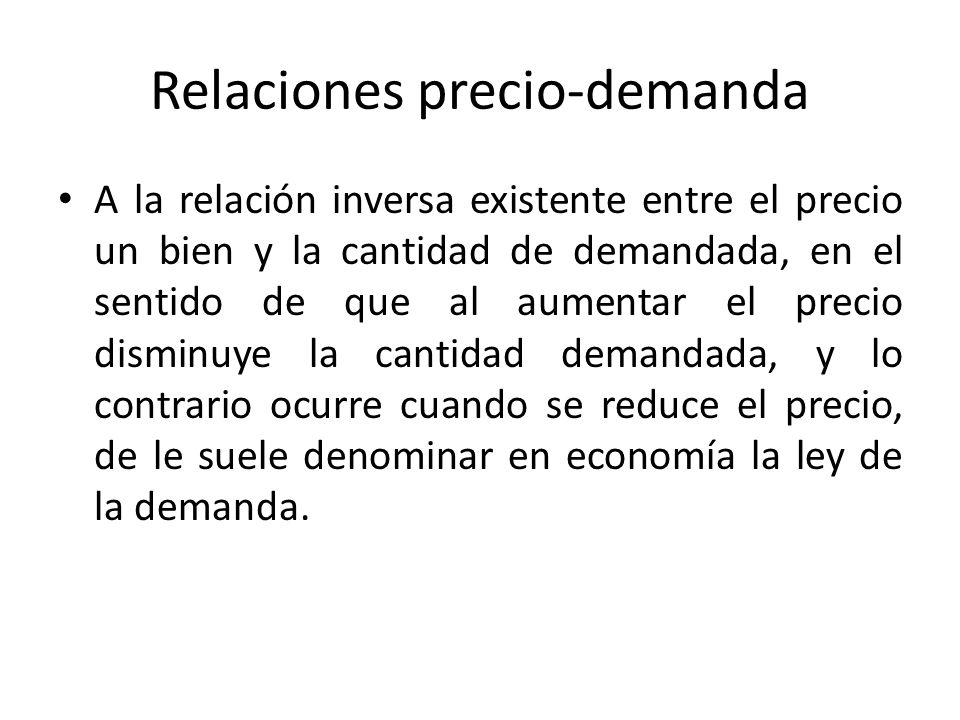 Relaciones precio-demanda A la relación inversa existente entre el precio un bien y la cantidad de demandada, en el sentido de que al aumentar el prec
