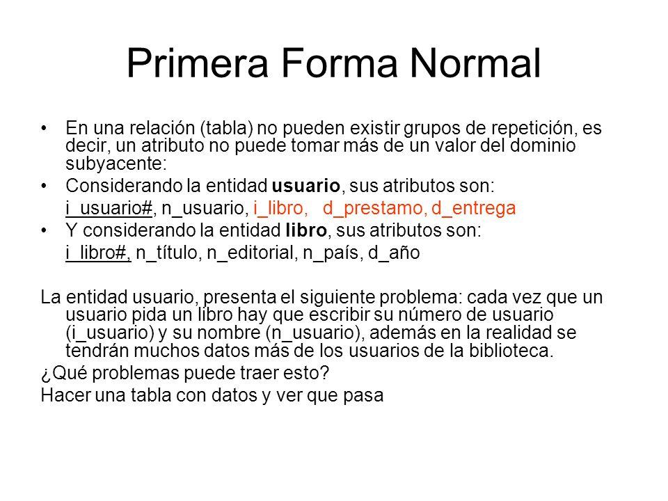 Primera Forma Normal En una relación (tabla) no pueden existir grupos de repetición, es decir, un atributo no puede tomar más de un valor del dominio