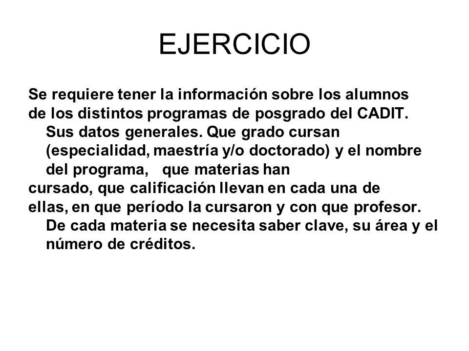 EJERCICIO Se requiere tener la información sobre los alumnos de los distintos programas de posgrado del CADIT. Sus datos generales. Que grado cursan (