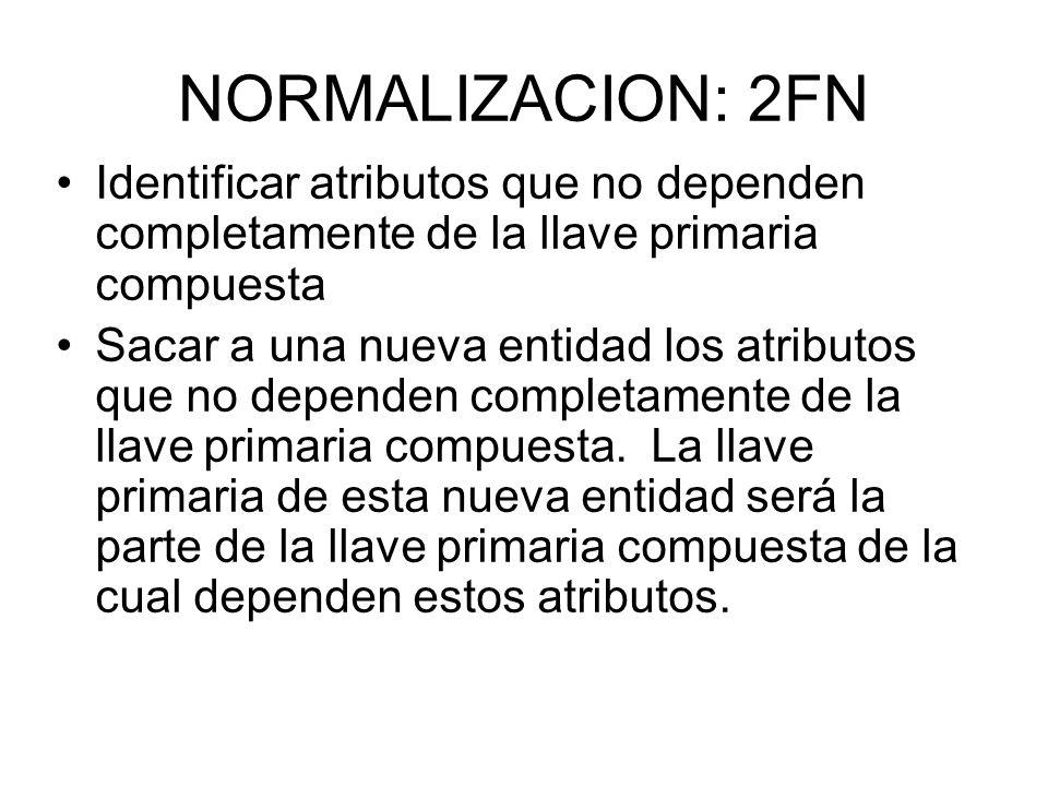 NORMALIZACION: 2FN Identificar atributos que no dependen completamente de la llave primaria compuesta Sacar a una nueva entidad los atributos que no d