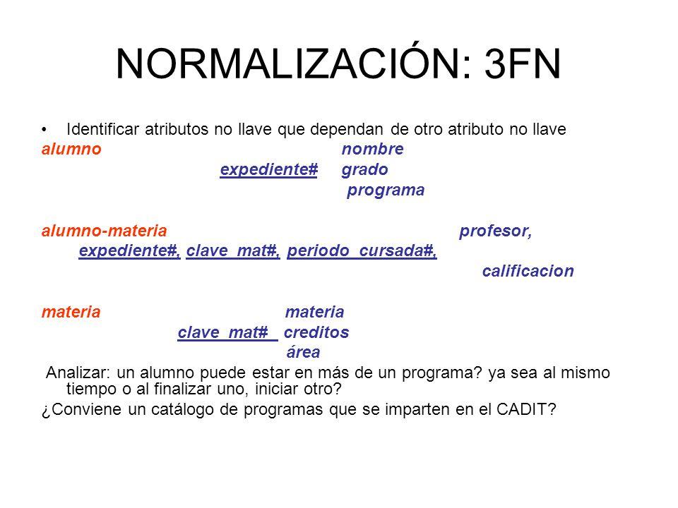 NORMALIZACIÓN: 3FN Identificar atributos no llave que dependan de otro atributo no llave alumno nombre expediente# grado programa alumno-materia profe