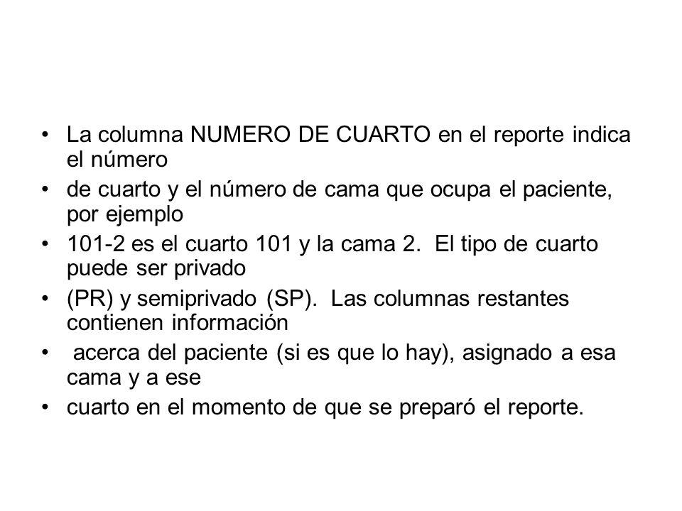 La columna NUMERO DE CUARTO en el reporte indica el número de cuarto y el número de cama que ocupa el paciente, por ejemplo 101-2 es el cuarto 101 y l