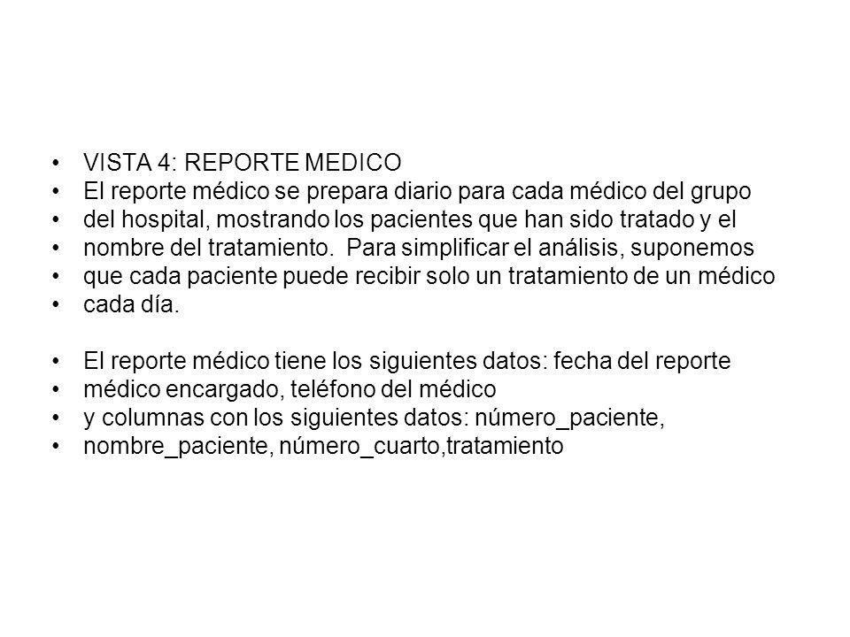 VISTA 4: REPORTE MEDICO El reporte médico se prepara diario para cada médico del grupo del hospital, mostrando los pacientes que han sido tratado y el