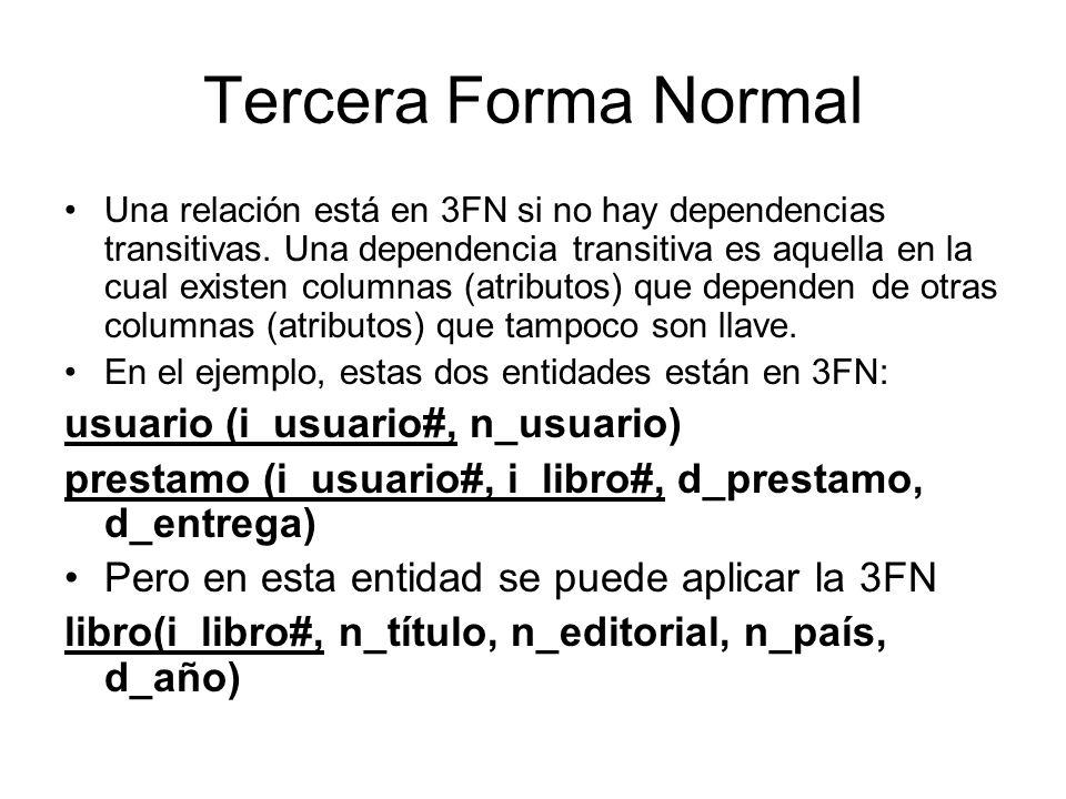 Tercera Forma Normal Una relación está en 3FN si no hay dependencias transitivas. Una dependencia transitiva es aquella en la cual existen columnas (a