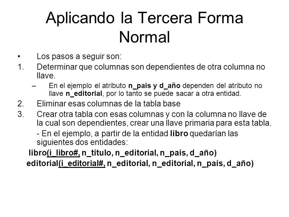 Aplicando la Tercera Forma Normal Los pasos a seguir son: 1.Determinar que columnas son dependientes de otra columna no llave. –En el ejemplo el atrib