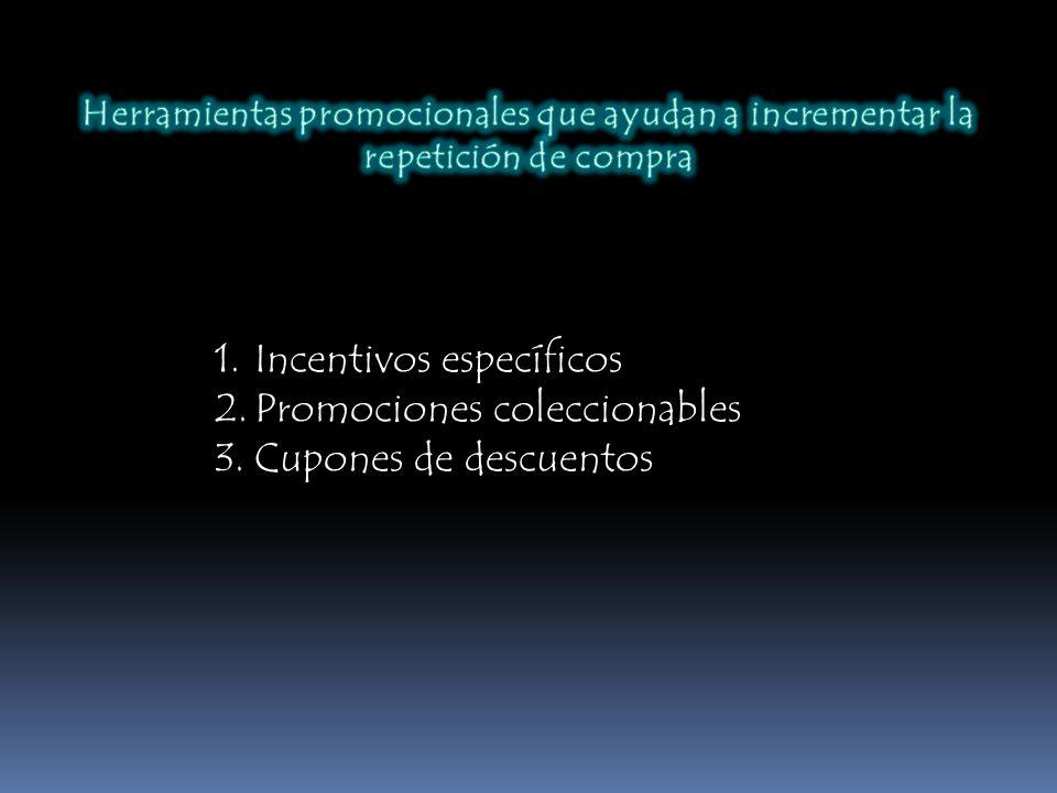 1.Incentivos específicos 2.Promociones coleccionables 3.Cupones de descuentos