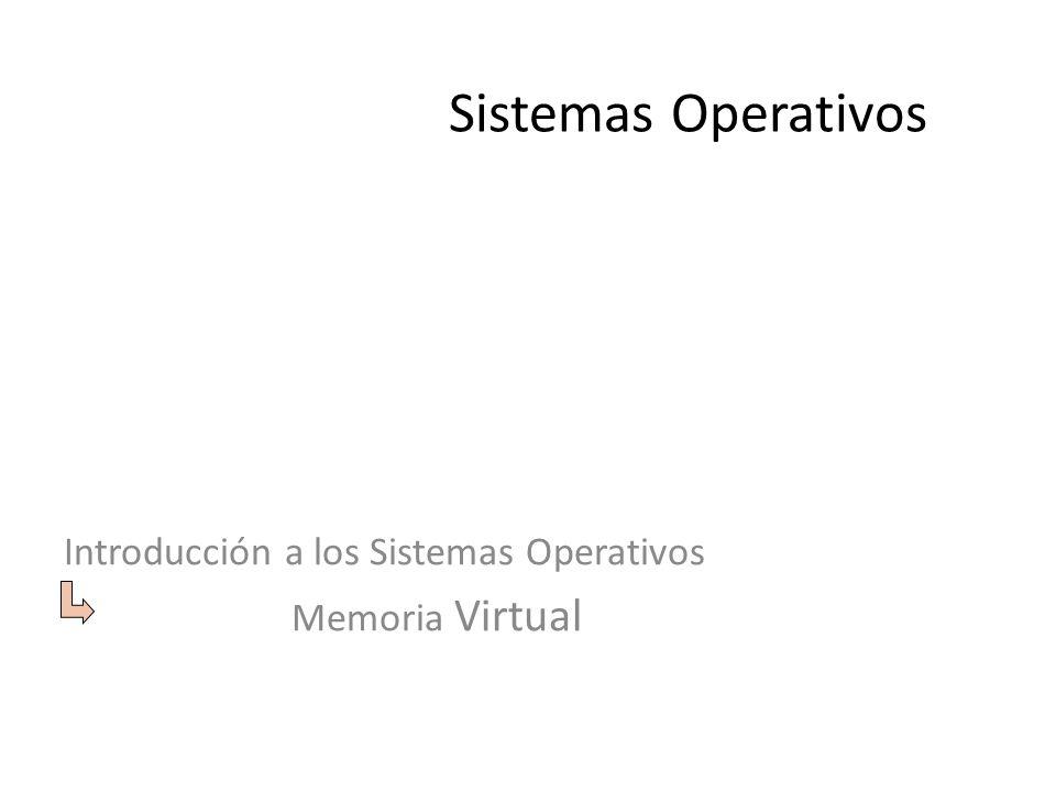 Sistemas Operativos Introducción a los Sistemas Operativos Memoria Virtual