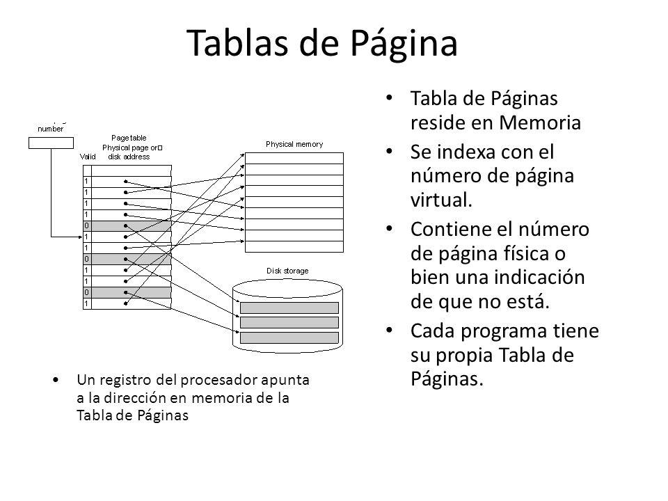 Tablas de Página Tabla de Páginas reside en Memoria Se indexa con el número de página virtual. Contiene el número de página física o bien una indicaci