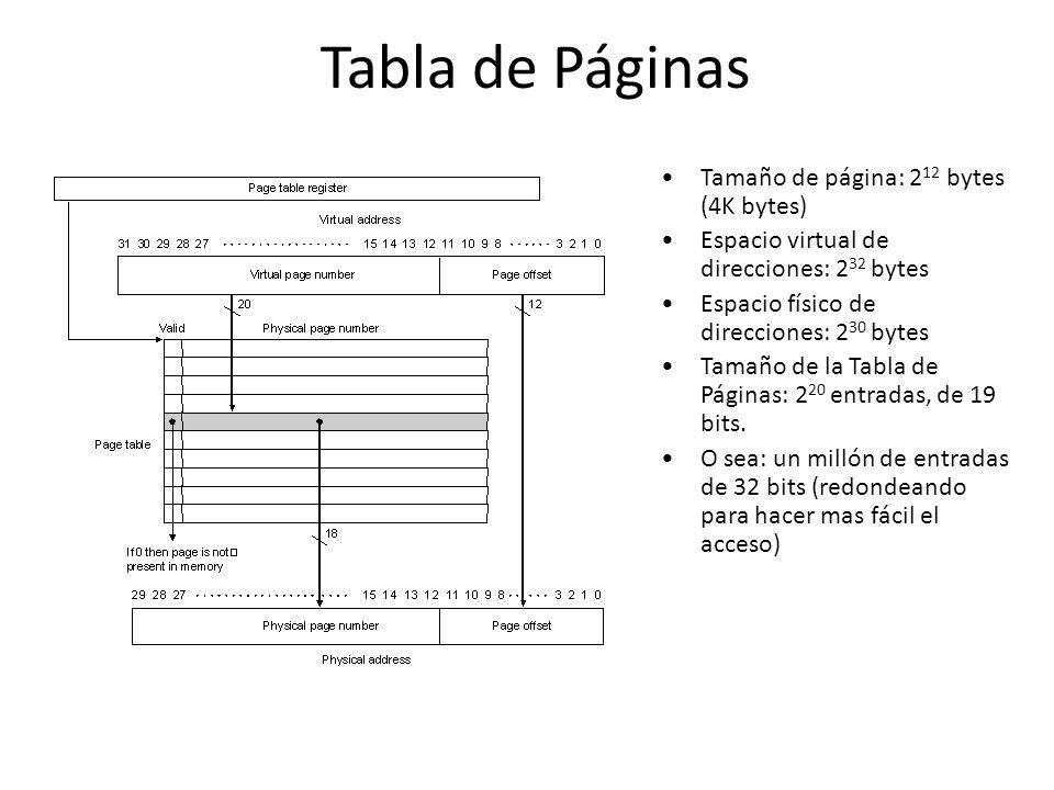Tabla de Páginas Tamaño de página: 2 12 bytes (4K bytes) Espacio virtual de direcciones: 2 32 bytes Espacio físico de direcciones: 2 30 bytes Tamaño d