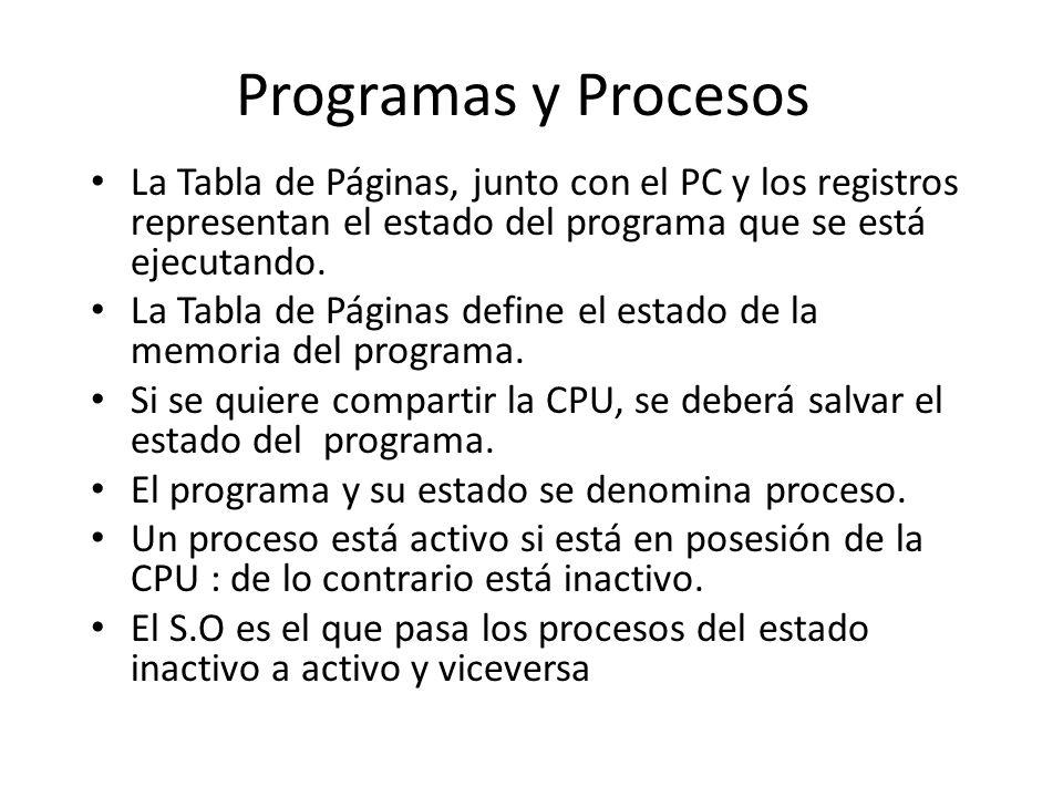 Programas y Procesos La Tabla de Páginas, junto con el PC y los registros representan el estado del programa que se está ejecutando. La Tabla de Págin