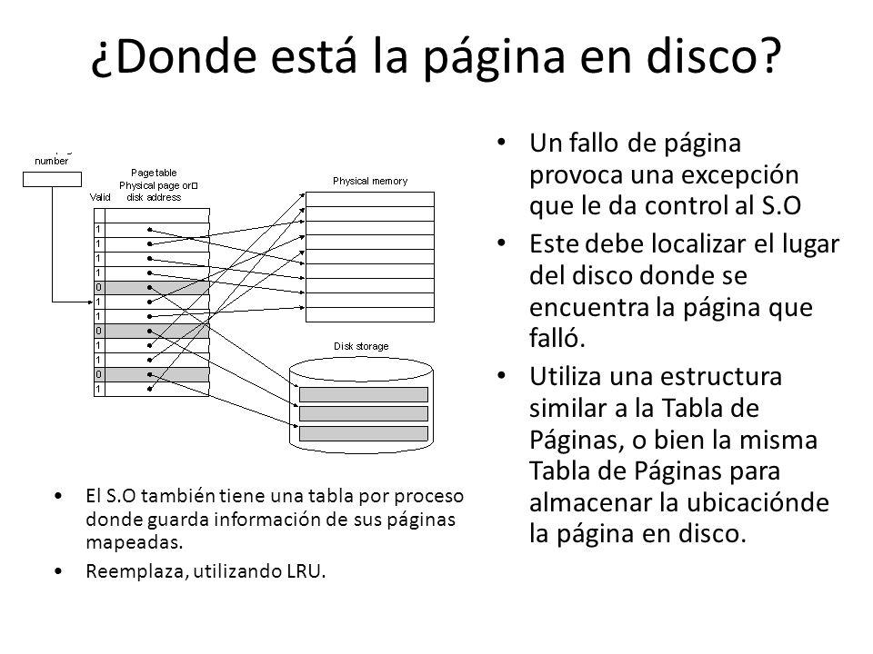¿Donde está la página en disco? Un fallo de página provoca una excepción que le da control al S.O Este debe localizar el lugar del disco donde se encu
