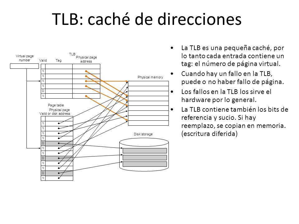 TLB: caché de direcciones La TLB es una pequeña caché, por lo tanto cada entrada contiene un tag: el número de página virtual. Cuando hay un fallo en