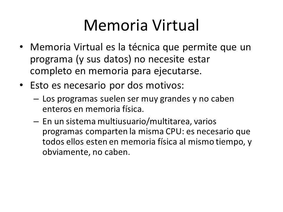 Memoria Virtual es la técnica que permite que un programa (y sus datos) no necesite estar completo en memoria para ejecutarse. Esto es necesario por d