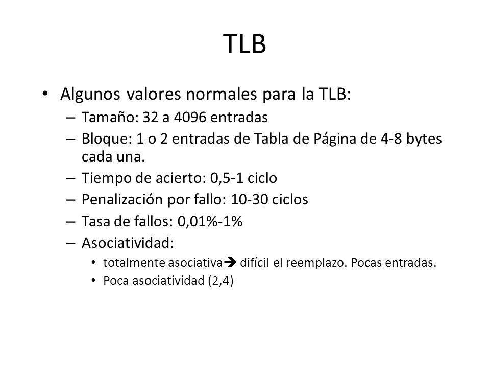TLB Algunos valores normales para la TLB: – Tamaño: 32 a 4096 entradas – Bloque: 1 o 2 entradas de Tabla de Página de 4-8 bytes cada una. – Tiempo de