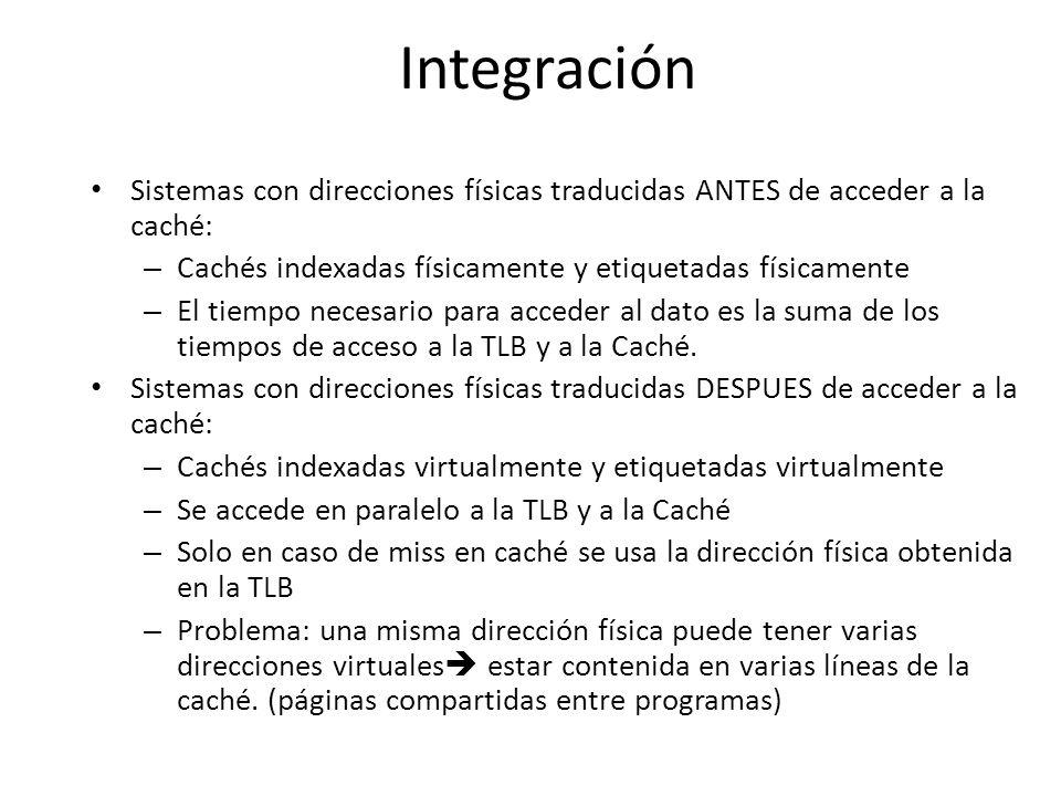 Integración Sistemas con direcciones físicas traducidas ANTES de acceder a la caché: – Cachés indexadas físicamente y etiquetadas físicamente – El tie