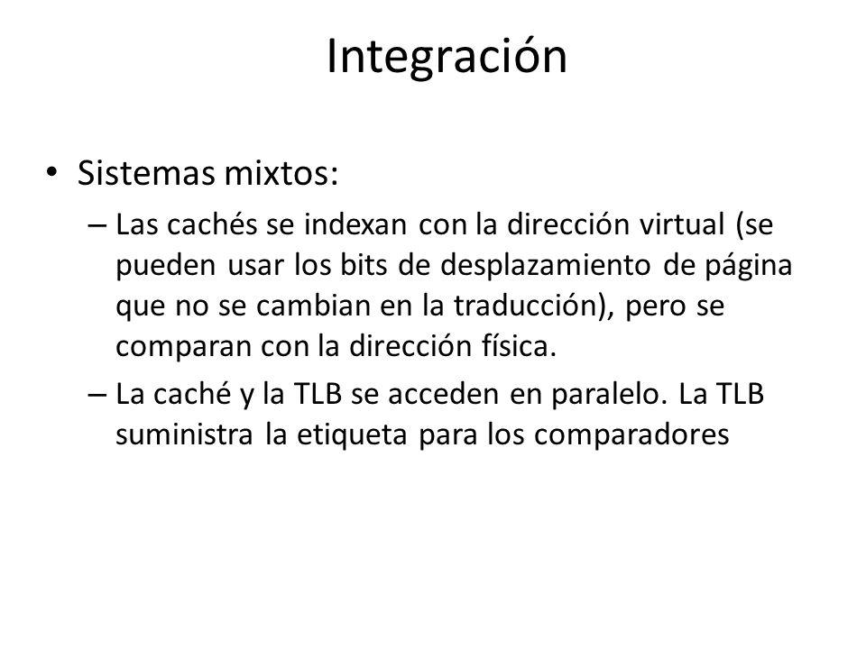 Integración Sistemas mixtos: – Las cachés se indexan con la dirección virtual (se pueden usar los bits de desplazamiento de página que no se cambian e
