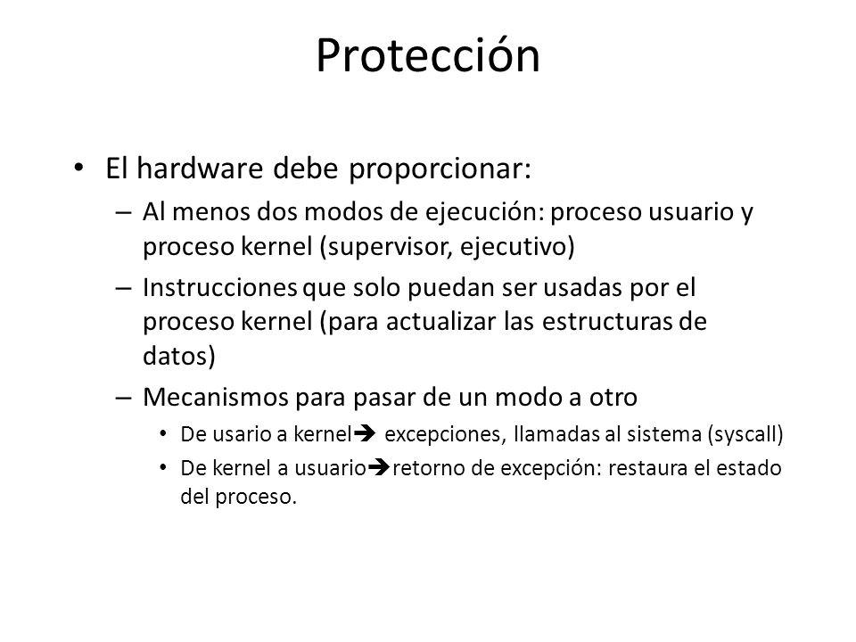 Protección El hardware debe proporcionar: – Al menos dos modos de ejecución: proceso usuario y proceso kernel (supervisor, ejecutivo) – Instrucciones