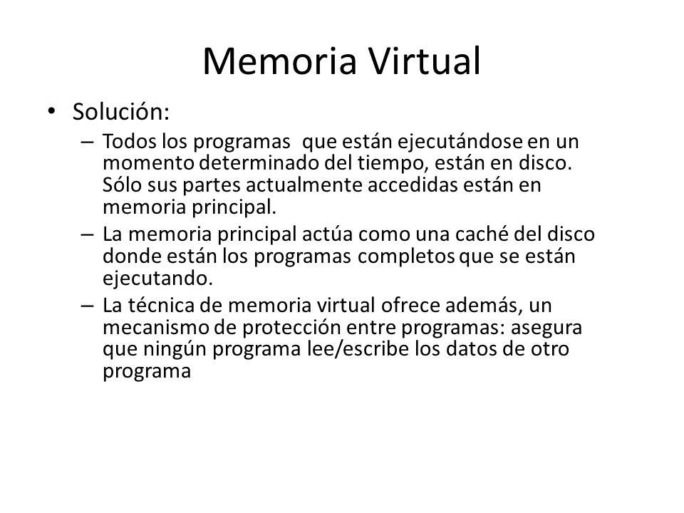 Memoria Virtual Solución: – Todos los programas que están ejecutándose en un momento determinado del tiempo, están en disco. Sólo sus partes actualmen