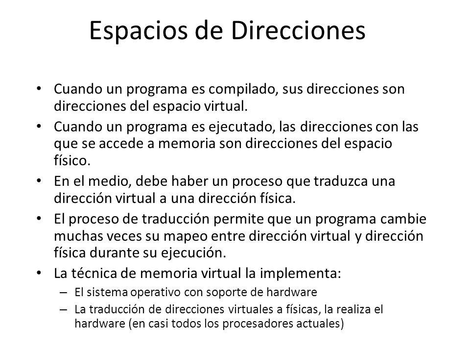 Espacios de Direcciones Cuando un programa es compilado, sus direcciones son direcciones del espacio virtual. Cuando un programa es ejecutado, las dir