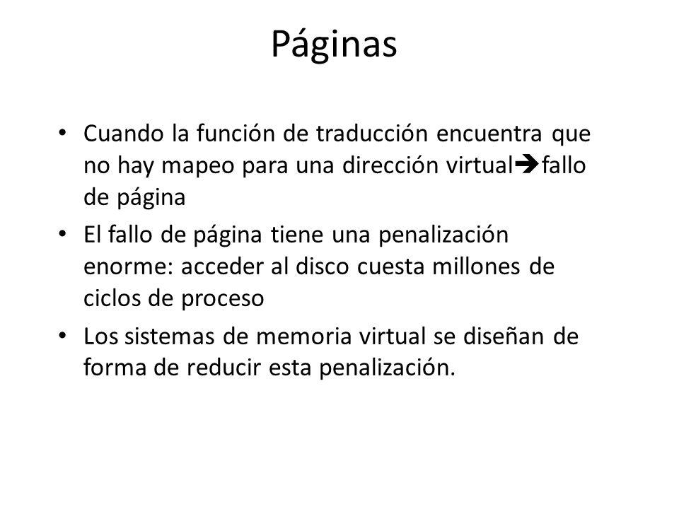 Páginas Cuando la función de traducción encuentra que no hay mapeo para una dirección virtual fallo de página El fallo de página tiene una penalizació