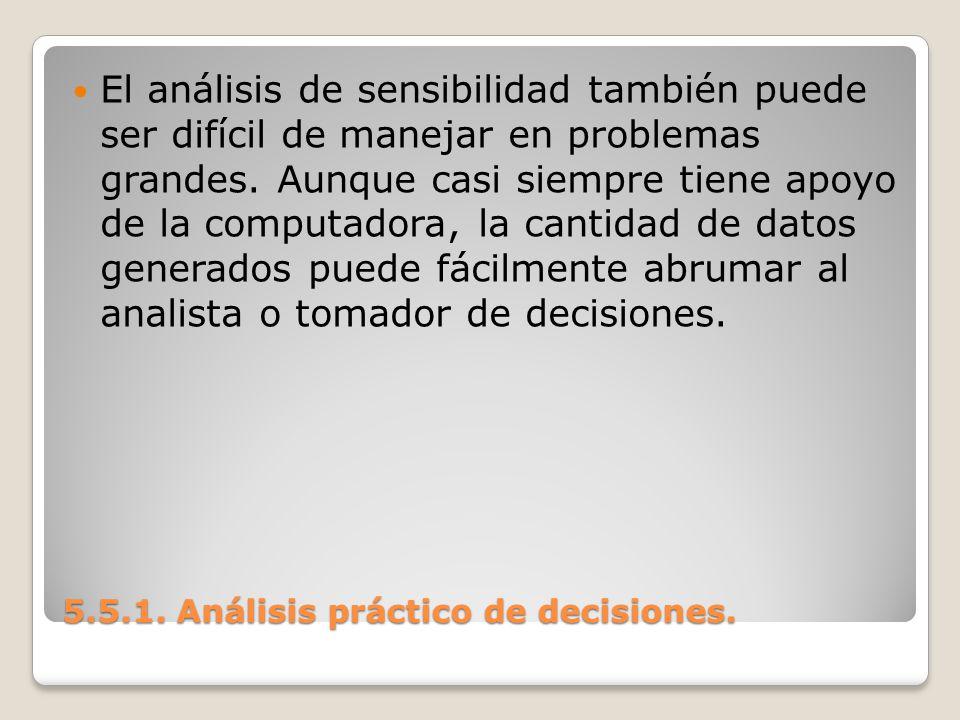 5.5.1. Análisis práctico de decisiones. 5.5.1. Análisis práctico de decisiones. El análisis de sensibilidad también puede ser difícil de manejar en pr
