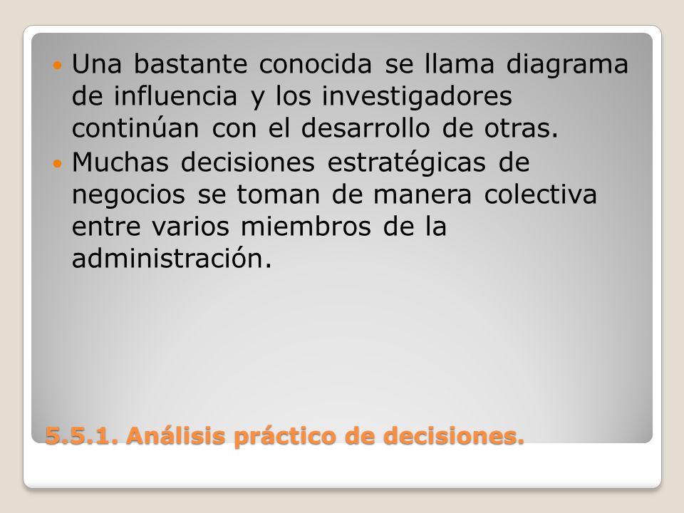 5.5.1. Análisis práctico de decisiones. 5.5.1. Análisis práctico de decisiones. Una bastante conocida se llama diagrama de influencia y los investigad