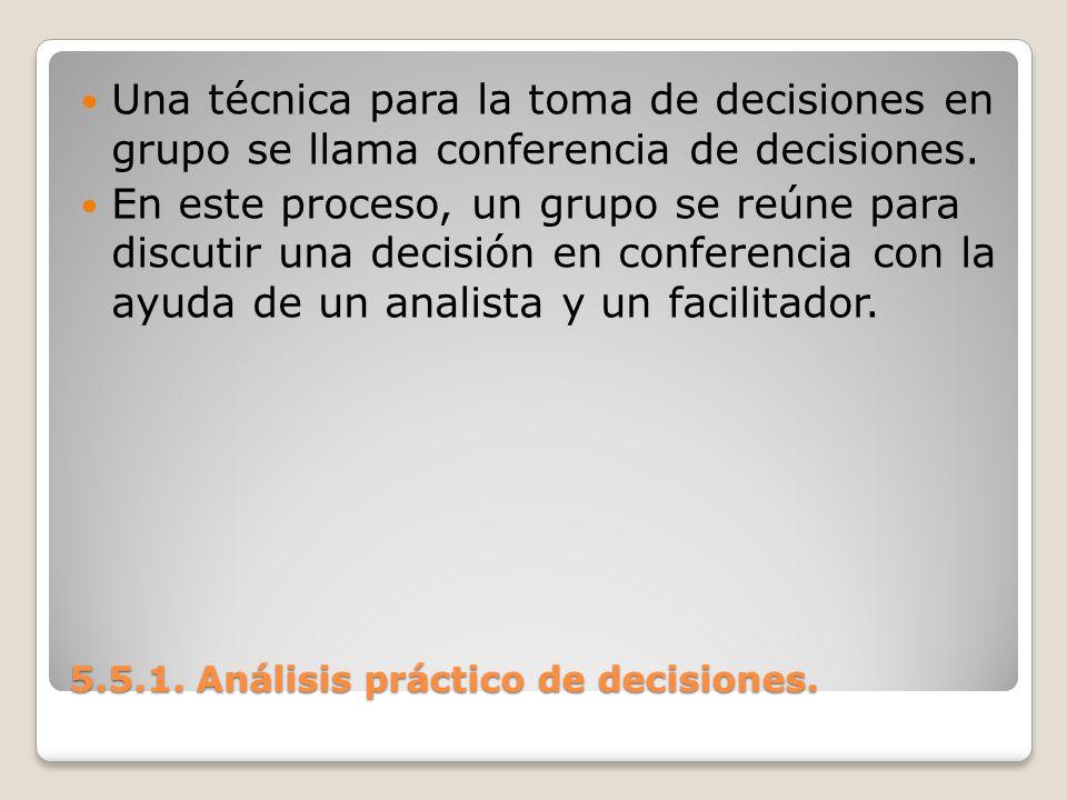 5.5.1. Análisis práctico de decisiones. 5.5.1. Análisis práctico de decisiones. Una técnica para la toma de decisiones en grupo se llama conferencia d