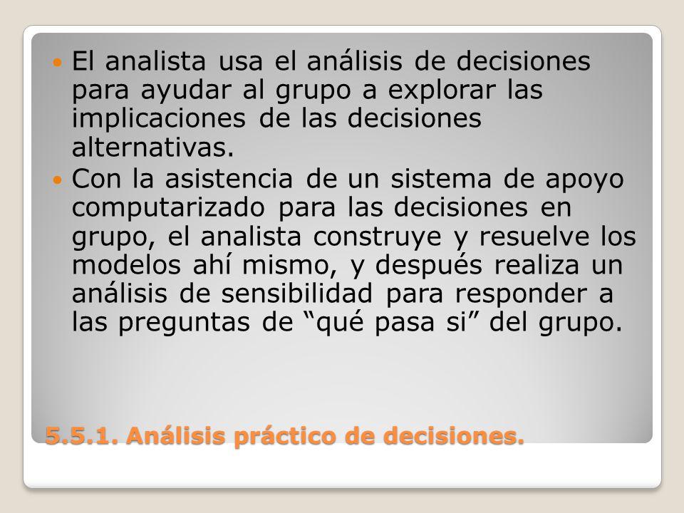 5.5.1. Análisis práctico de decisiones. 5.5.1. Análisis práctico de decisiones. El analista usa el análisis de decisiones para ayudar al grupo a explo