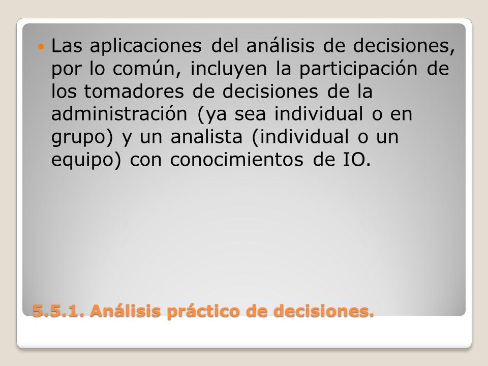 5.5.1. Análisis práctico de decisiones. 5.5.1. Análisis práctico de decisiones. Las aplicaciones del análisis de decisiones, por lo común, incluyen la
