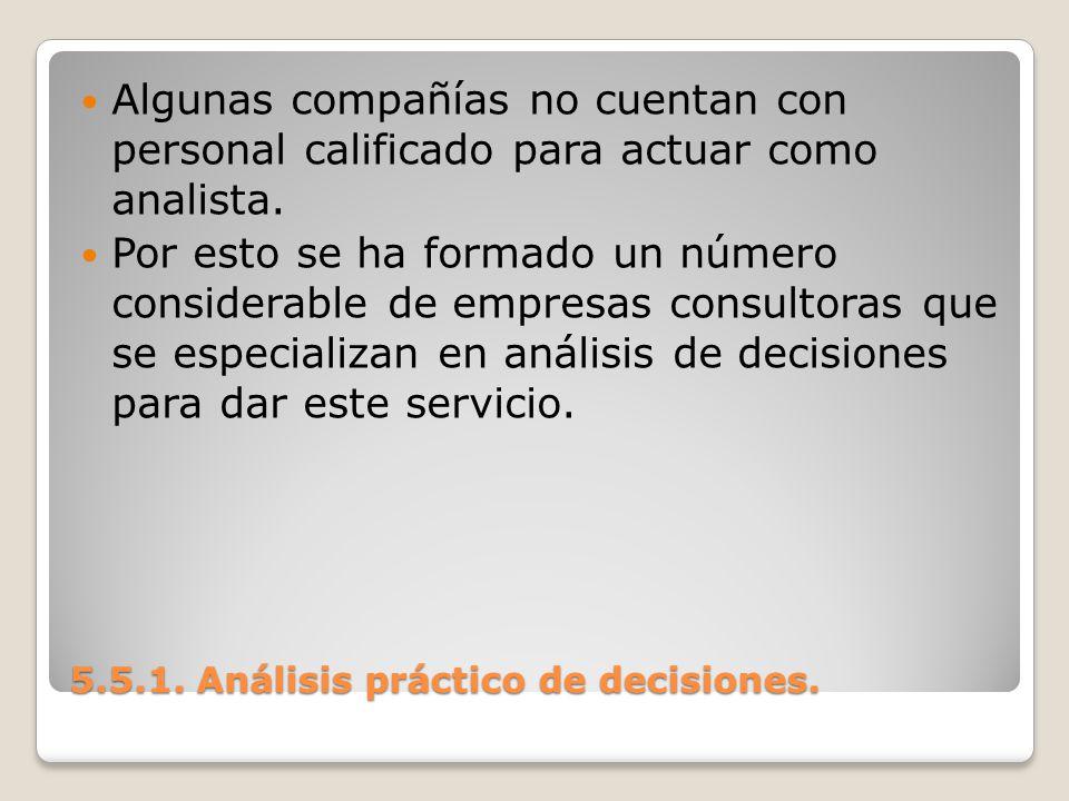 5.5.1. Análisis práctico de decisiones. 5.5.1. Análisis práctico de decisiones. Algunas compañías no cuentan con personal calificado para actuar como