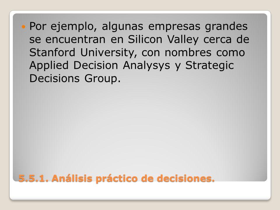 5.5.1. Análisis práctico de decisiones. 5.5.1. Análisis práctico de decisiones. Por ejemplo, algunas empresas grandes se encuentran en Silicon Valley