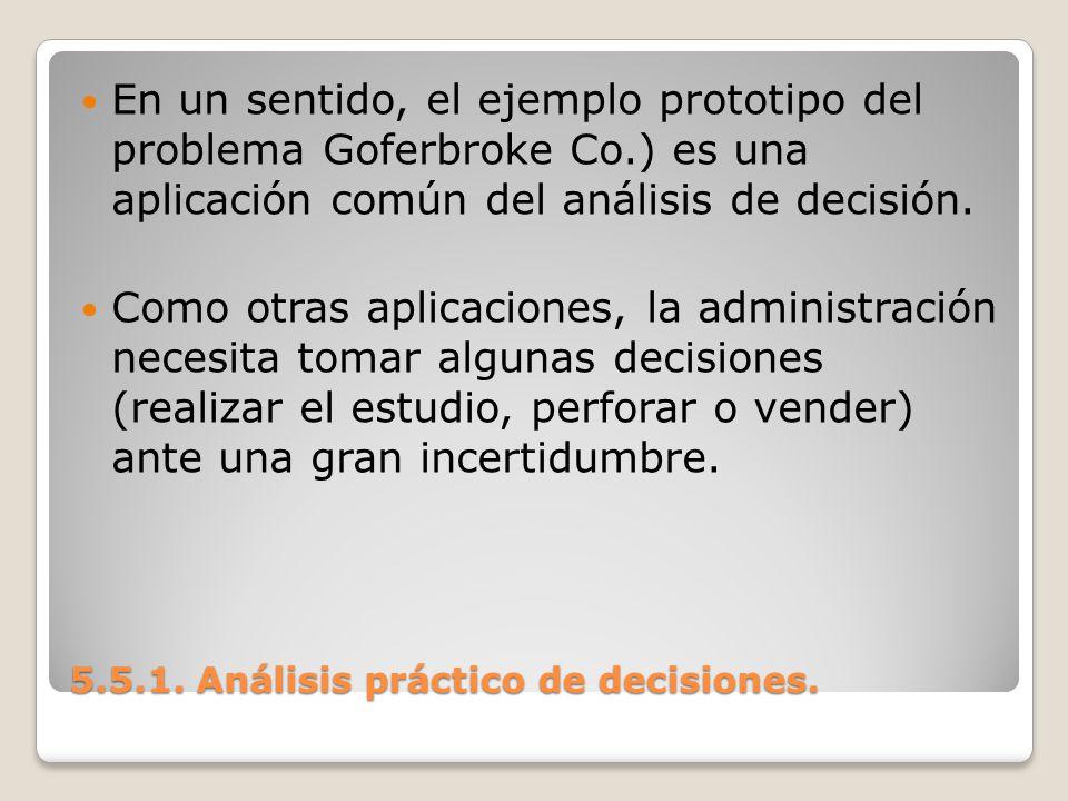 5.5.1. Análisis práctico de decisiones. 5.5.1. Análisis práctico de decisiones. En un sentido, el ejemplo prototipo del problema Goferbroke Co.) es un