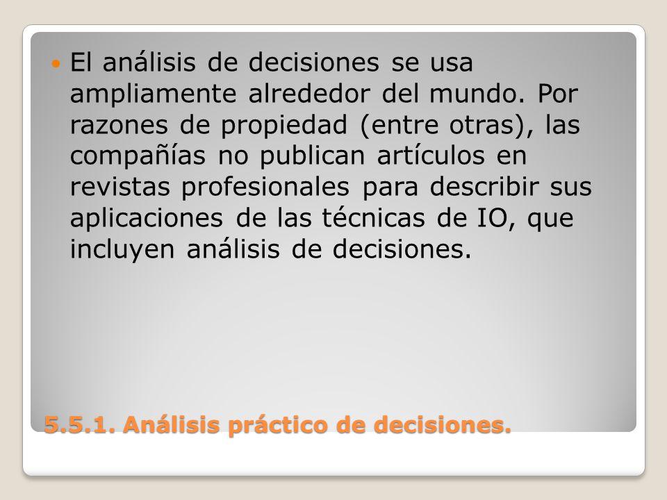 5.5.1. Análisis práctico de decisiones. 5.5.1. Análisis práctico de decisiones. El análisis de decisiones se usa ampliamente alrededor del mundo. Por
