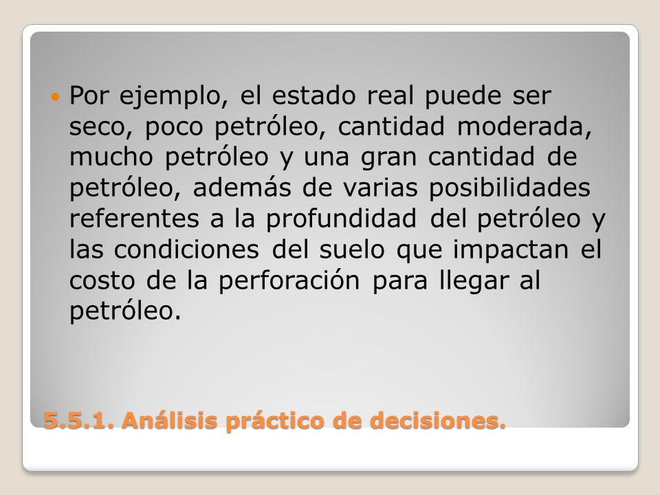 5.5.1. Análisis práctico de decisiones. 5.5.1. Análisis práctico de decisiones. Por ejemplo, el estado real puede ser seco, poco petróleo, cantidad mo