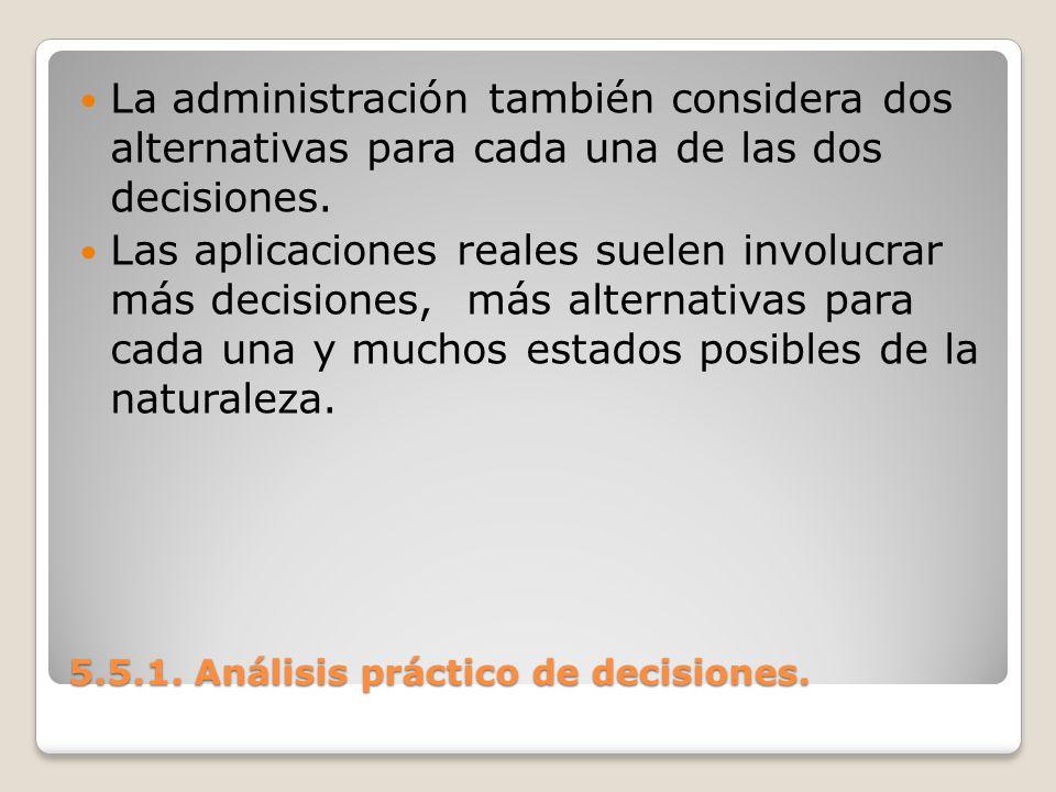 5.5.1. Análisis práctico de decisiones. 5.5.1. Análisis práctico de decisiones. La administración también considera dos alternativas para cada una de