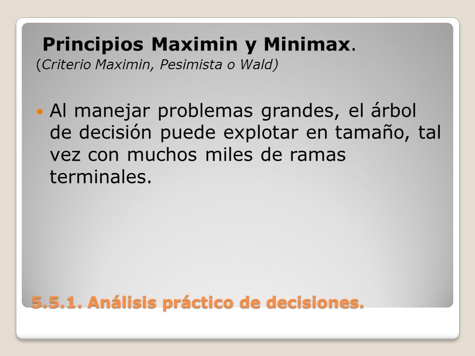 5.5.1. Análisis práctico de decisiones. 5.5.1. Análisis práctico de decisiones. Principios Maximin y Minimax. (Criterio Maximin, Pesimista o Wald) Al