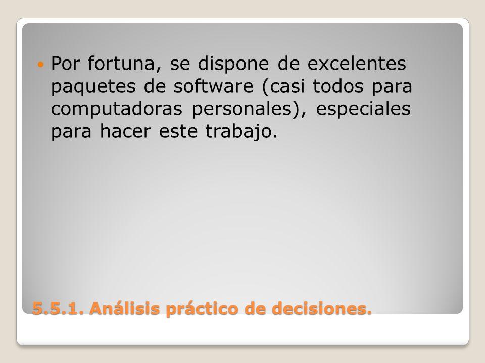 5.5.1. Análisis práctico de decisiones. 5.5.1. Análisis práctico de decisiones. Por fortuna, se dispone de excelentes paquetes de software (casi todos
